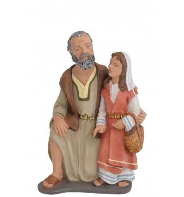 Pastor Adorando con niña Pasta cerámica Italiana y pintado con acrílicos.