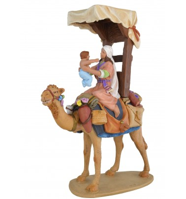 Pastora a camello con niño - Fabricado en pasta cerámica Italiana