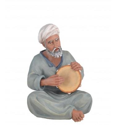 Pastor con pandereta - Fabricado en pasta cerámica.