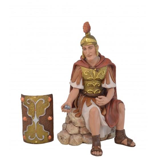 Soldado Romano sentado con Dinares + escudo - Fabricada en pasta cerámica Italiana
