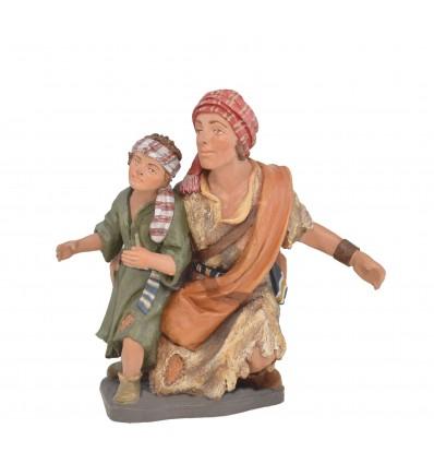 Pastor arrodillado con niño - Fabricado en pasta cerámica