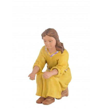 Niña sentada en taburete - Fabricado en pasta cerámica Italiana